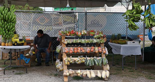 Se pueden adquirir frutas y vegetales en un puesto de viandas en la feria.
