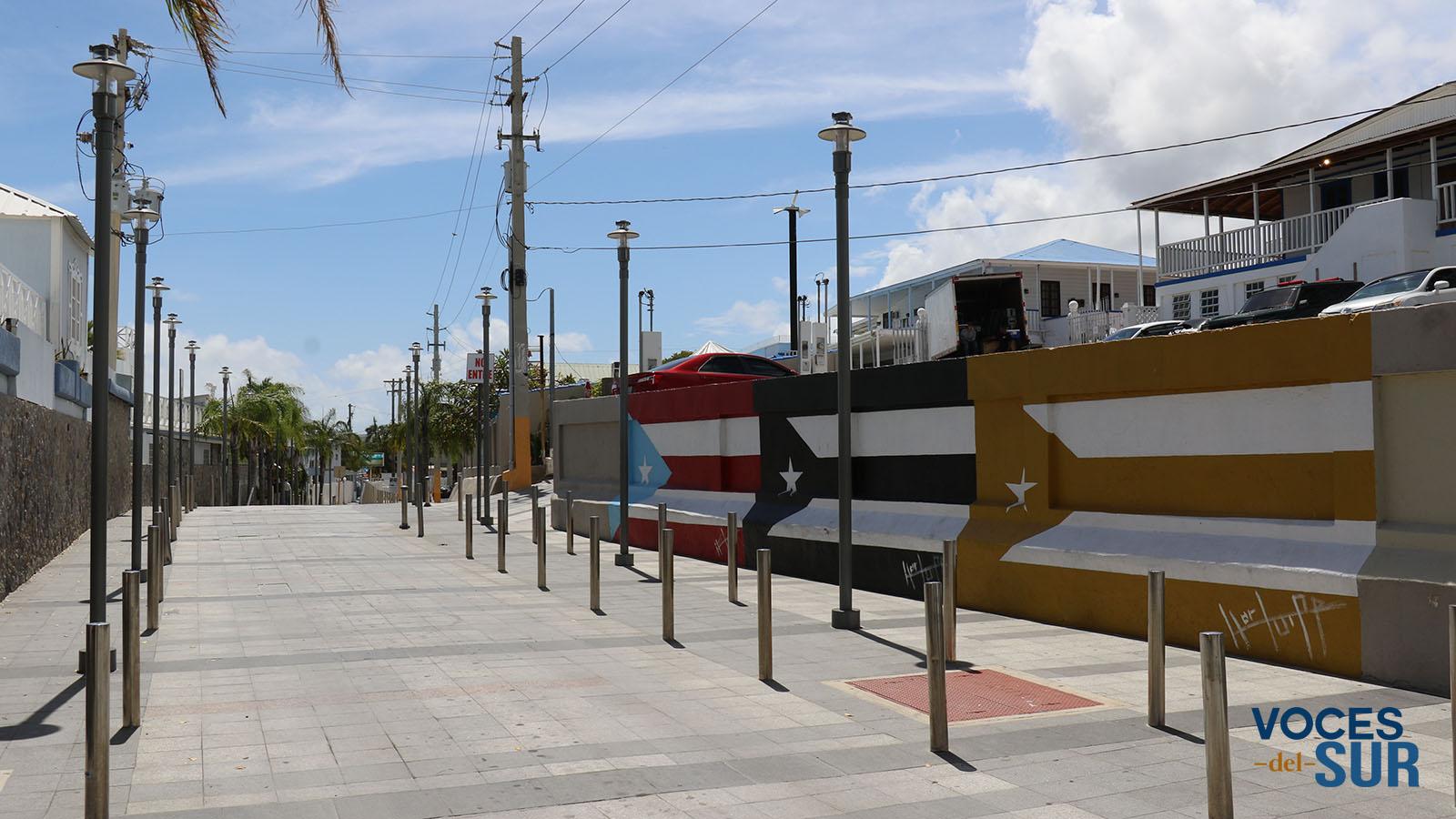 Banderas pintadas por Héctor PR para el proyecto 78 pueblos, una bandera en la carretera 304 en La Parguera. (Voces del Sur)