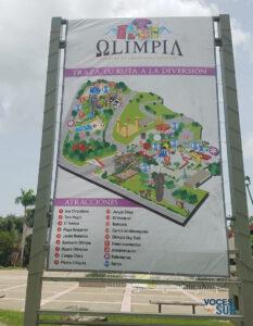 Mapa de atracciones del parque acuático Olimpia, ubicado en el Albergue Olímpico de Salinas. (Voces del Sur)