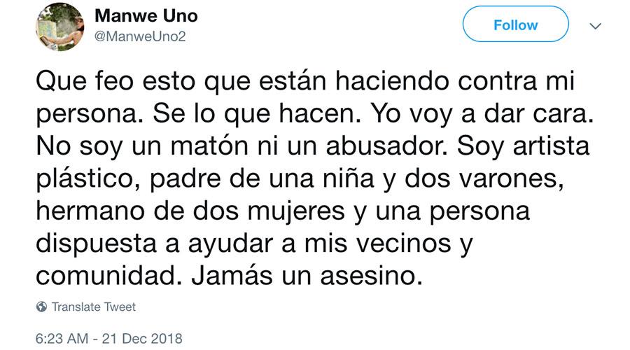 Mensaje publicado en la cuenta de Manwe Uno en Twitter. (Captura de pantalla)