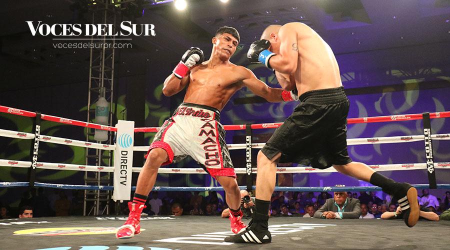 El juanadino Juan Camacho Jr. noqueó a Luis Cosme a los 28 segundos del primer round. (Voces del Sur / Michelle Estrada Torres)