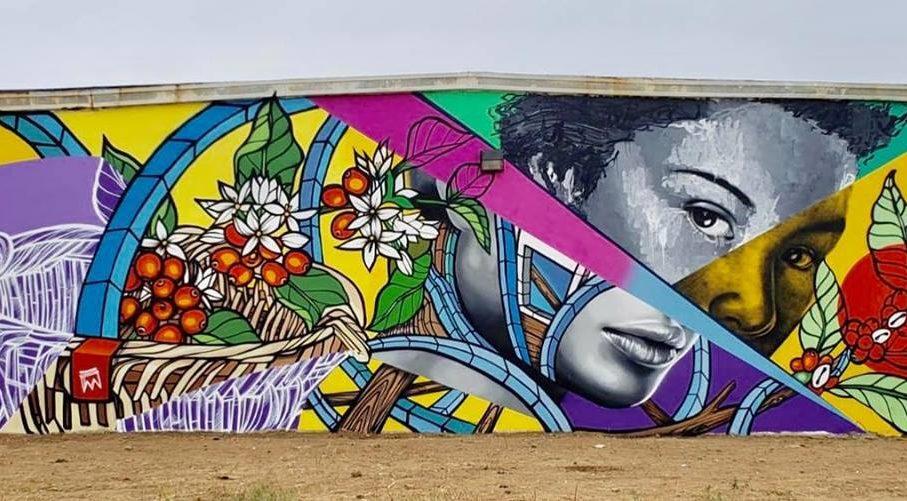 Don Rimx y Carlitos Skills trabajaron un mural en el barrio Jacanas.