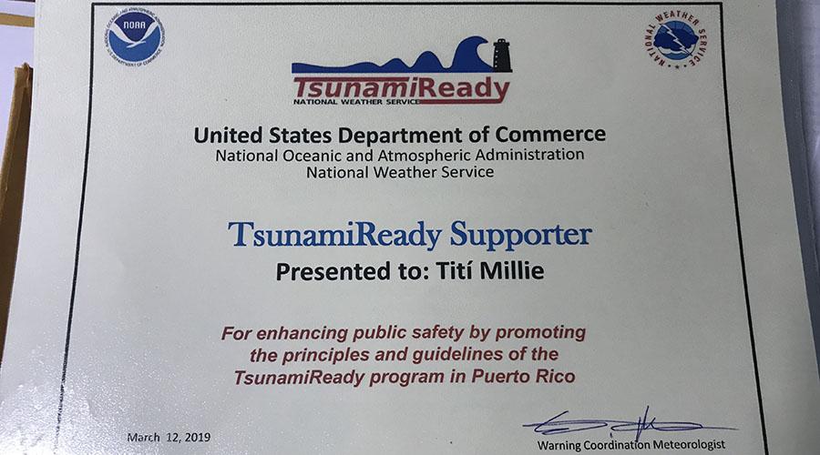 Certificado de TsunamiReady Supporters otorgado a Titi Millie Day Care Inc. en Guánica. (Suministrada)