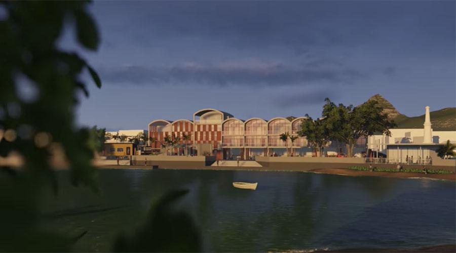 Diseño virtual de la posada que se construiría en el malecón de Arroyo. (Imagen capturada del vídeo Plan Maestro Arroyo 2020 en Youtube)