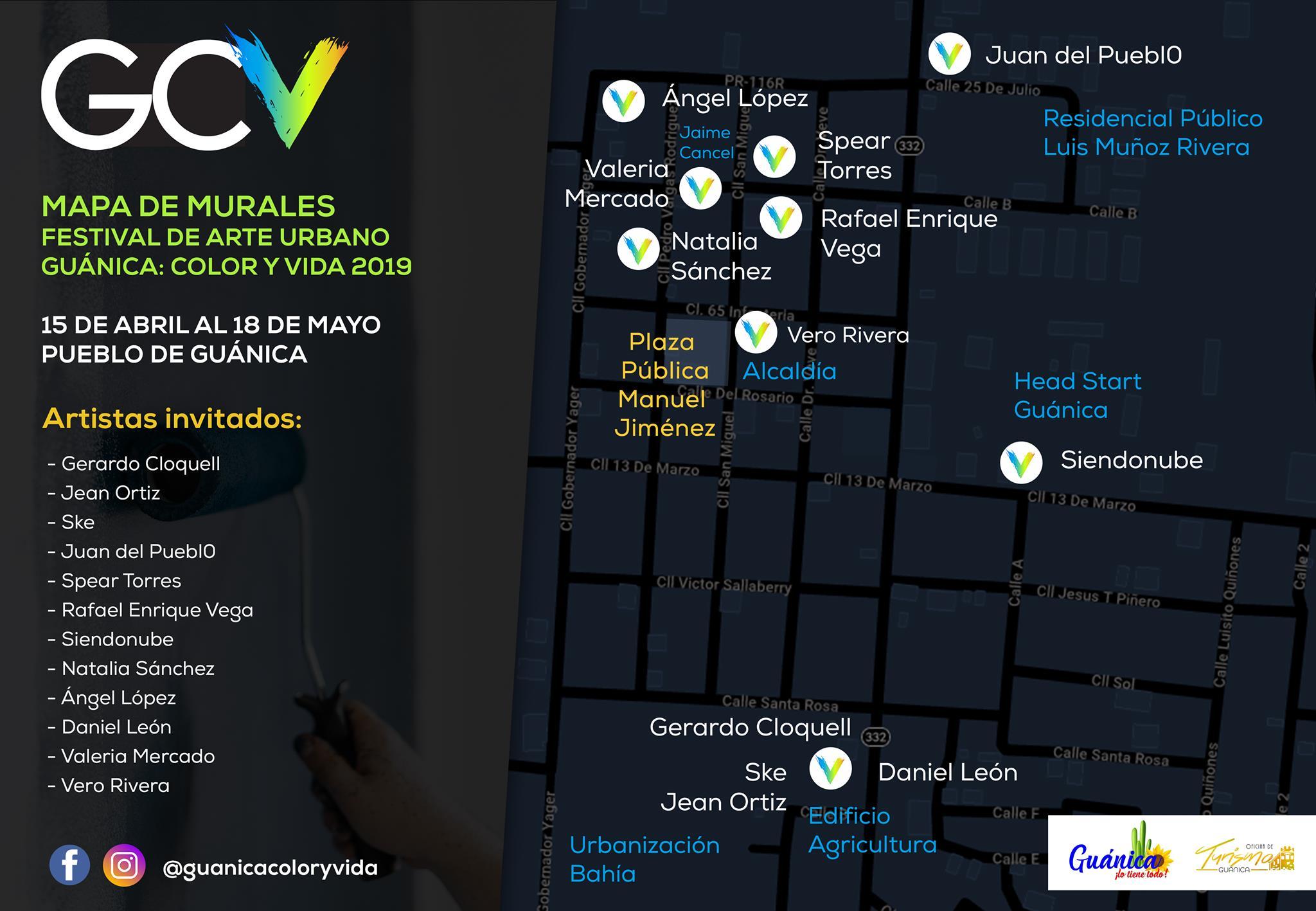 Mapa del evento de murles Guánica: color y vida.